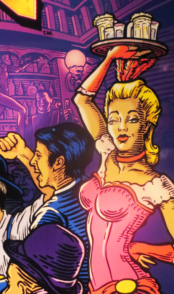 "This is from the backglass of The Champion Pub, my favorite pinball machine these days. You ""punch"" a bag, you fight a mustachioed dude in an A-shirt, you jump rope with the pinball, and you hit the speedbag. Clever and creative. Oh, and boobs."