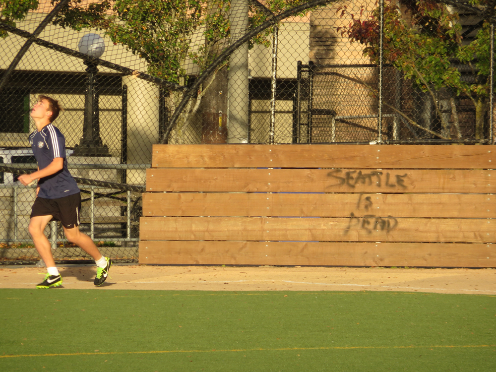 Seattle Is Dead, spraypainted at Bobby Morris Field