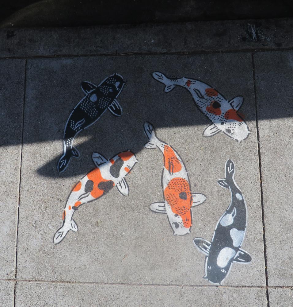 koi stencils on haight street in san francisco