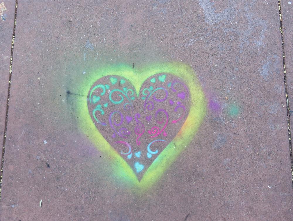 heart stencil on haight street in san francisco