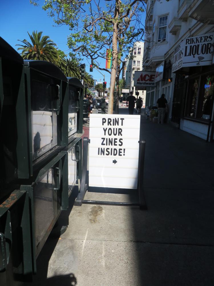 zines copy shop sign san francisco