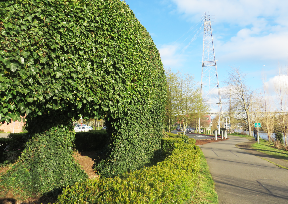 The ivy-covered dinosaurs in Fremont in Seattle.