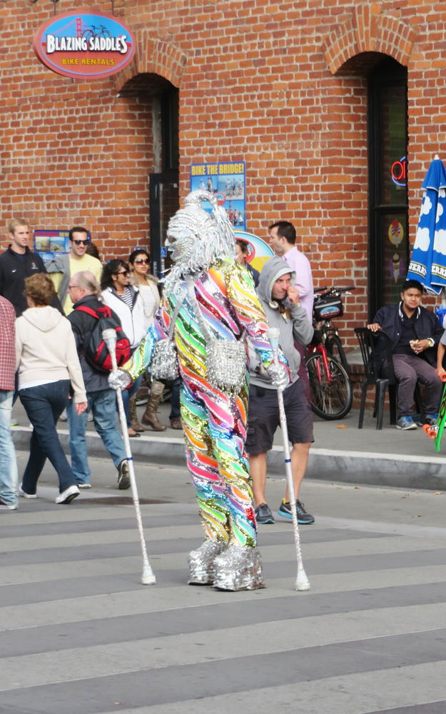 This rainbow-covered individual was at Fisherman's Wharf.