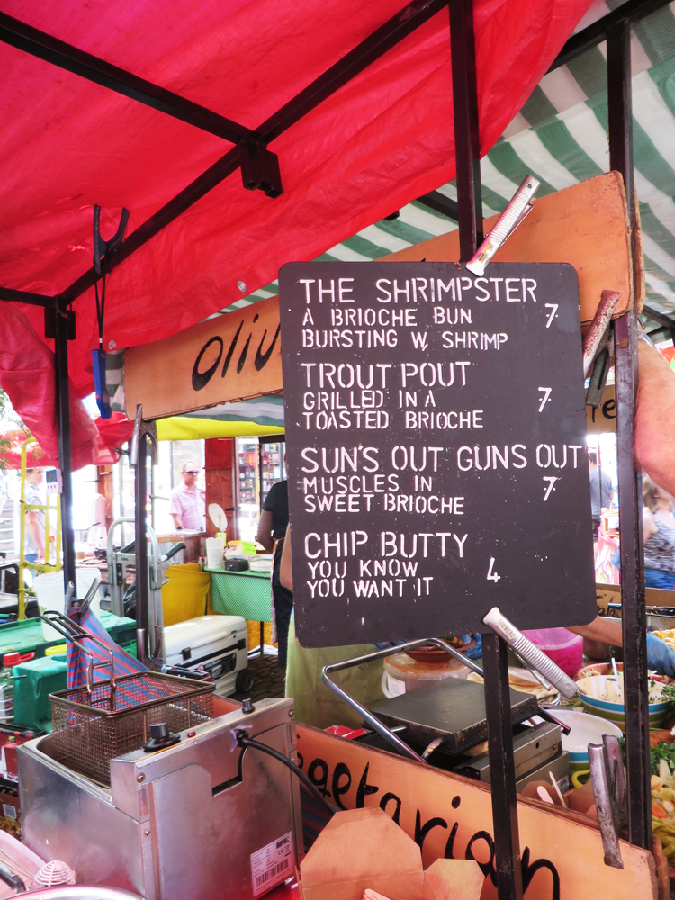Camden Market menu with fish sandwiches listed