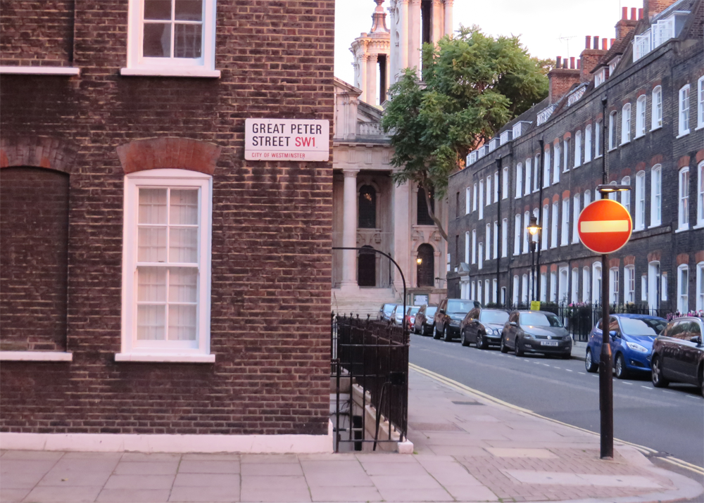 Magic hour by the houses of Westminster, with a do not enter sign