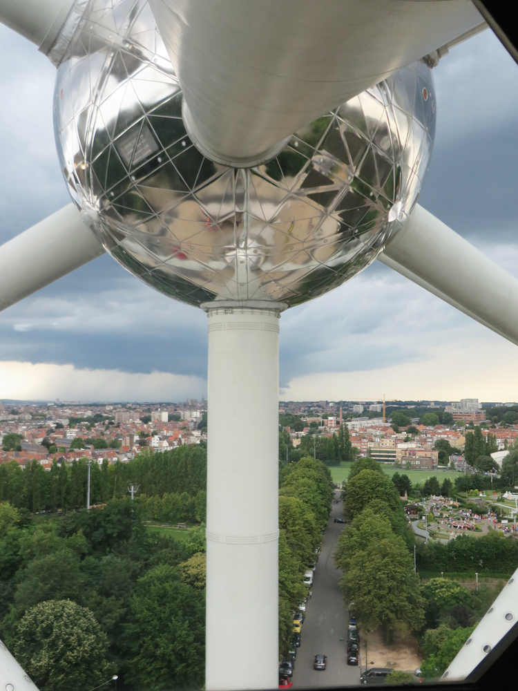 The Atomium over the Belgian landscape
