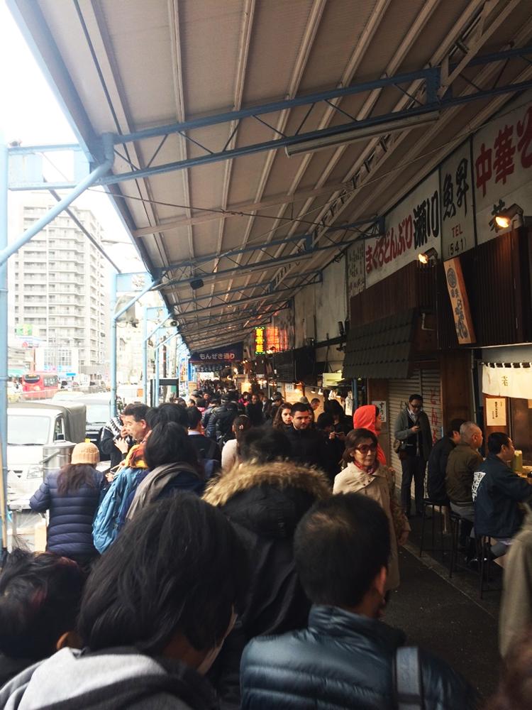 Ramen line at Tsukiji Market in Tokyo