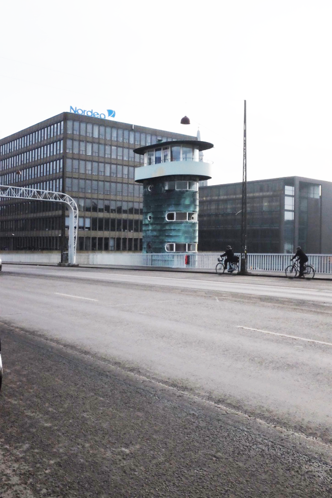 A more distant view of a control tower of Copenhagen's Knippelsbro