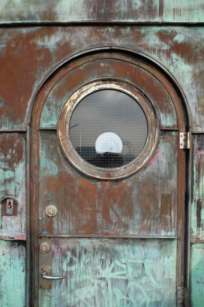 Closer look of the door of a control tower of Copenhagen's Knippelsbro