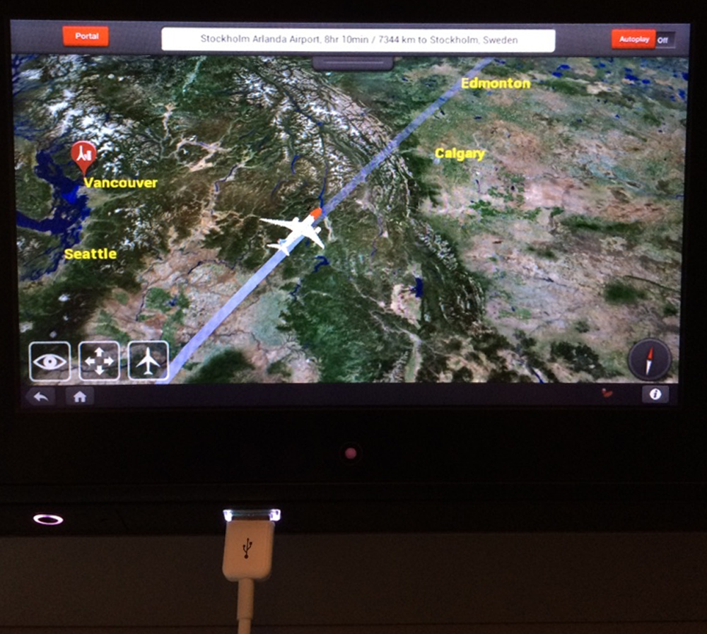 Norwegian Air progress map, with bonus USB