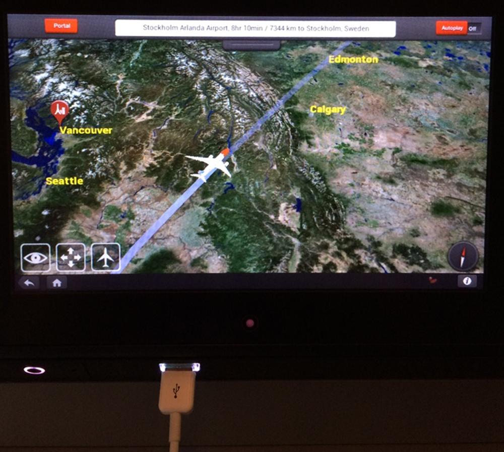 Norwegian Air progress map, with bonus USB