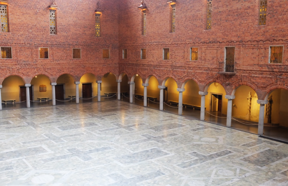 Looking down into Stockholm's city hall's Blue Room