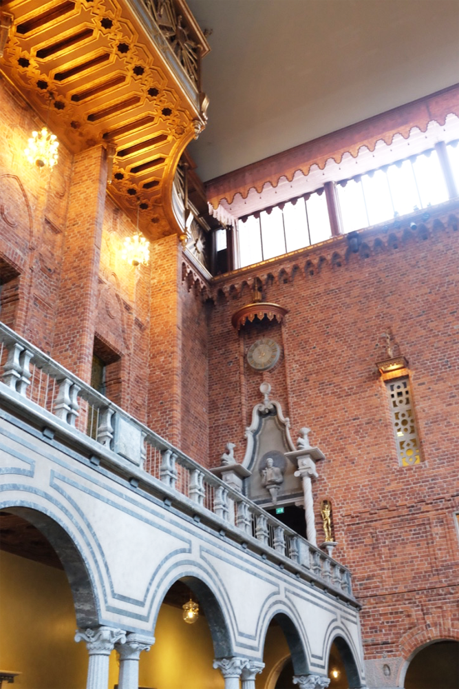 Looking up from within Stockholm's city hall's Blue Room