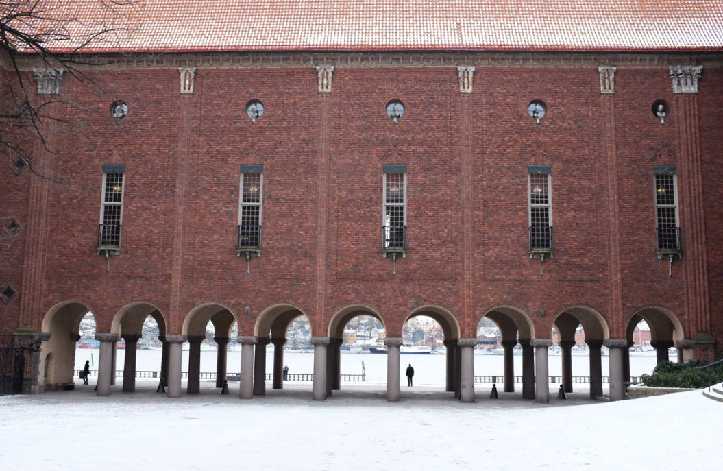 Looking toward the water from Stockholm's city hall courtyard