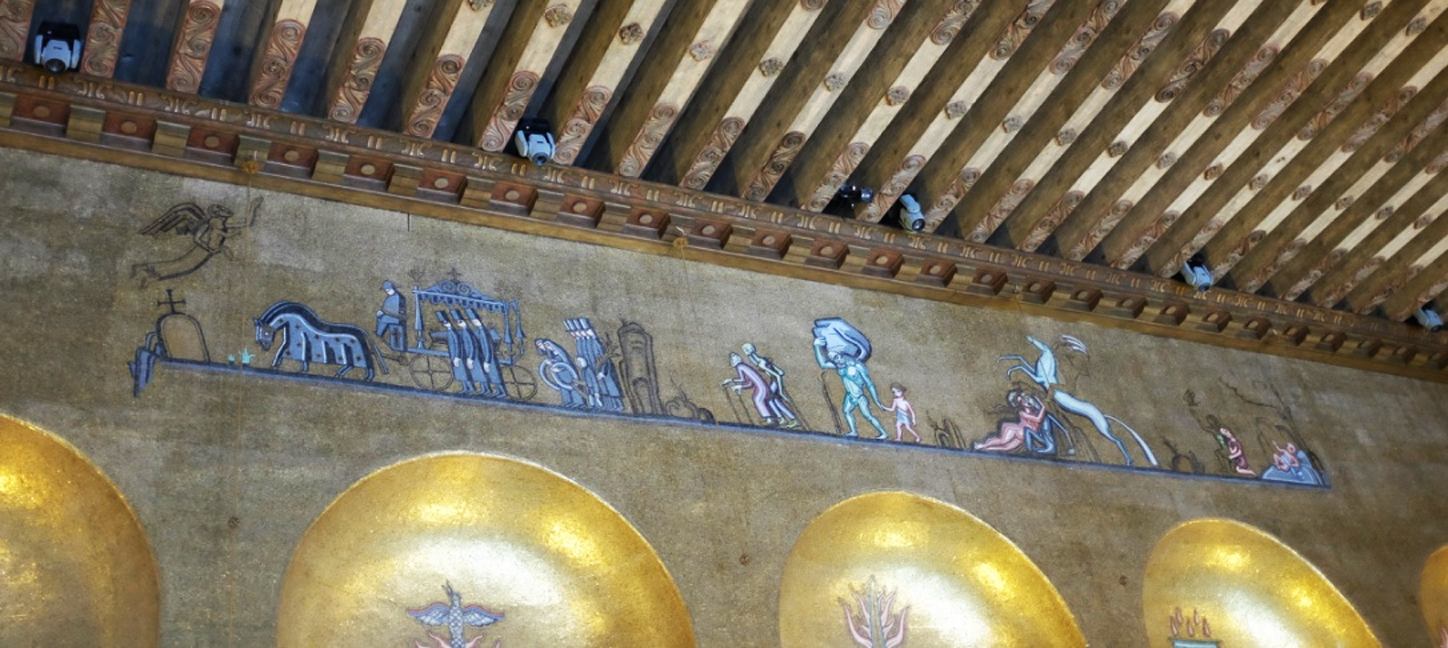 Funeral procession detail in the Gold Room at Stockholm's City Hall