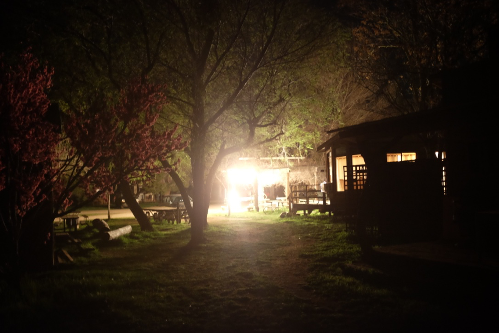 Ranch cabin at night in Santa Margarita, CA