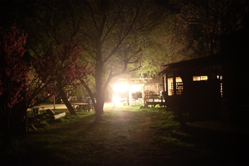 Ranch cabin at night in Santa Margarita, CA