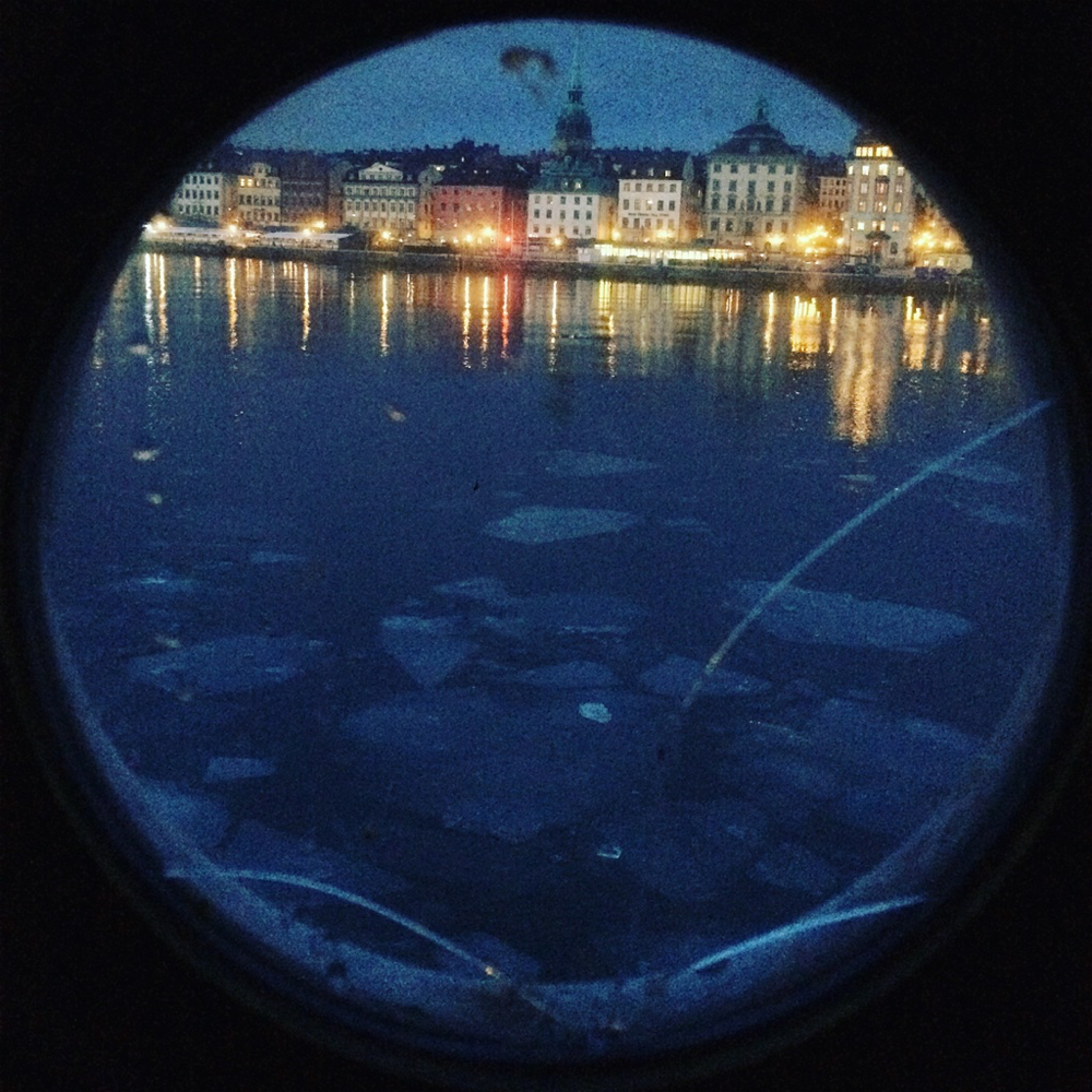 Stockholm at dawn through an Af Chapman porthole