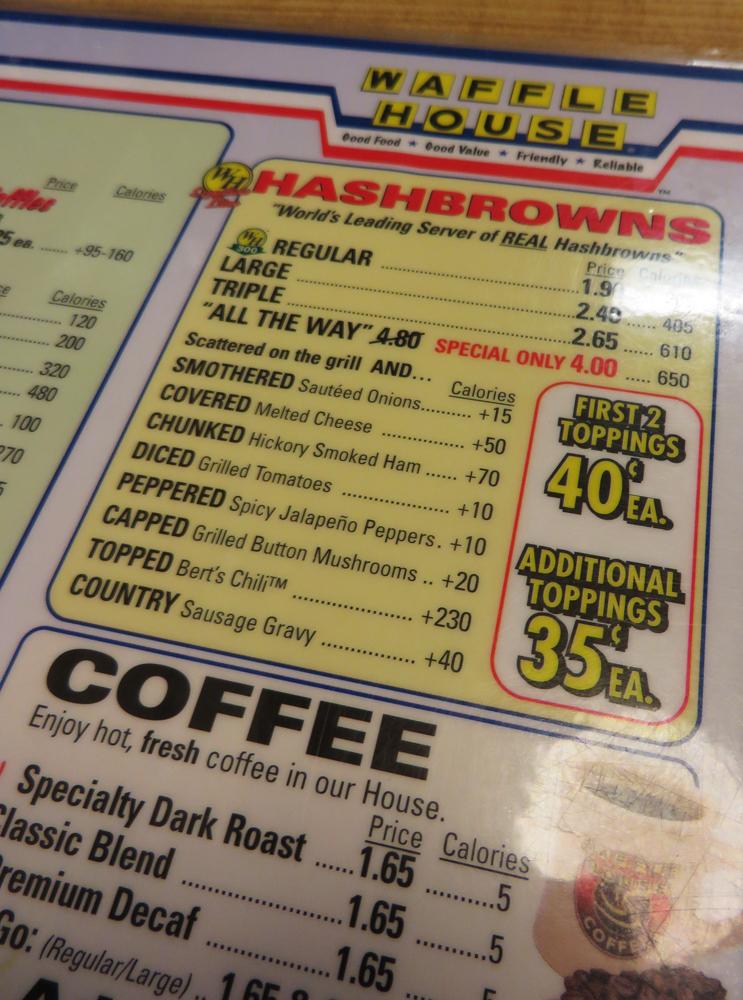2 waffle house menu