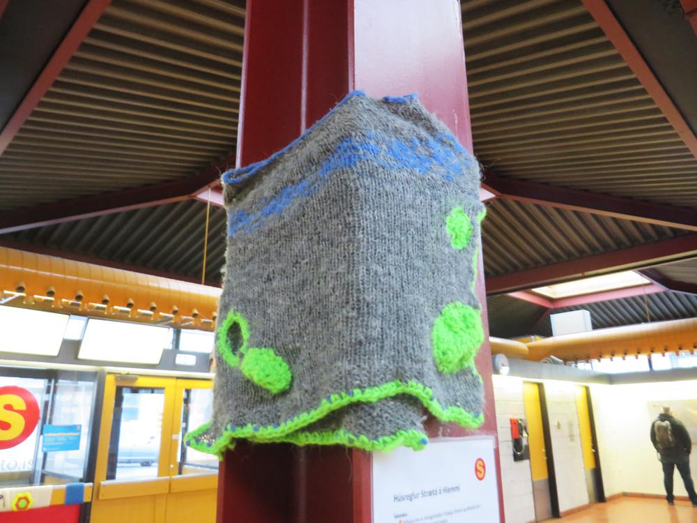 knitting at Hlemmur bus station