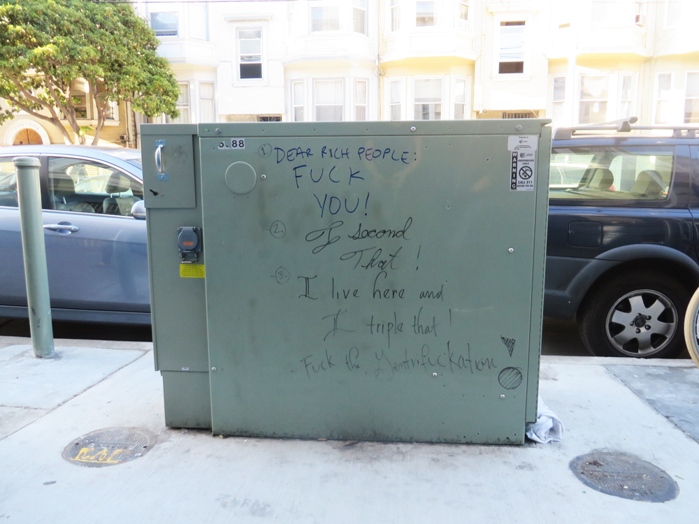 class-aware sharpie graffiti in the mission in san francisco