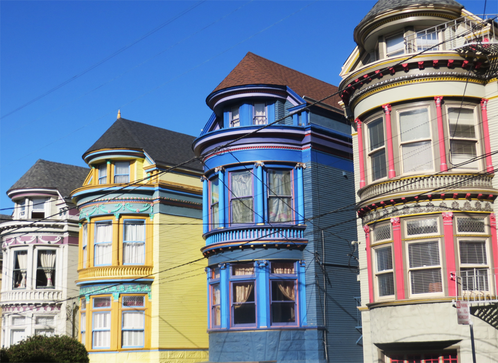 colorful houses off haight street in san francisco
