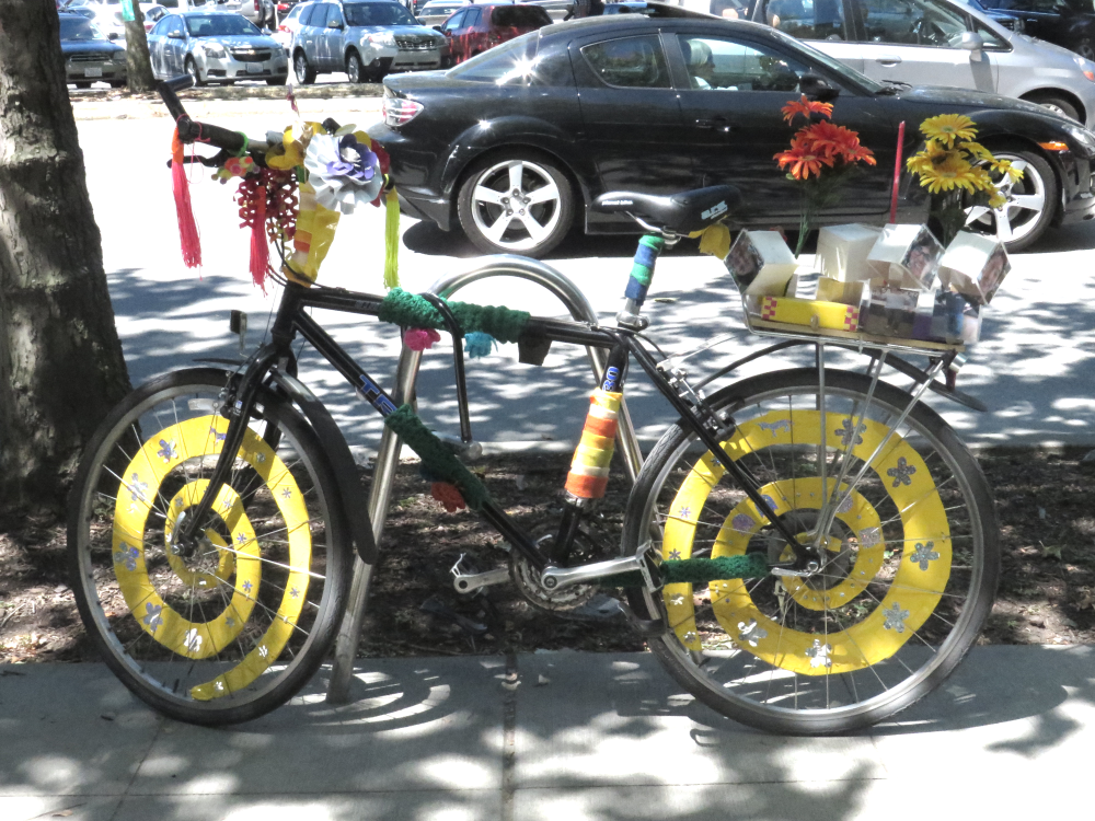 A beautifully decorated bike spotted near Seattle Center