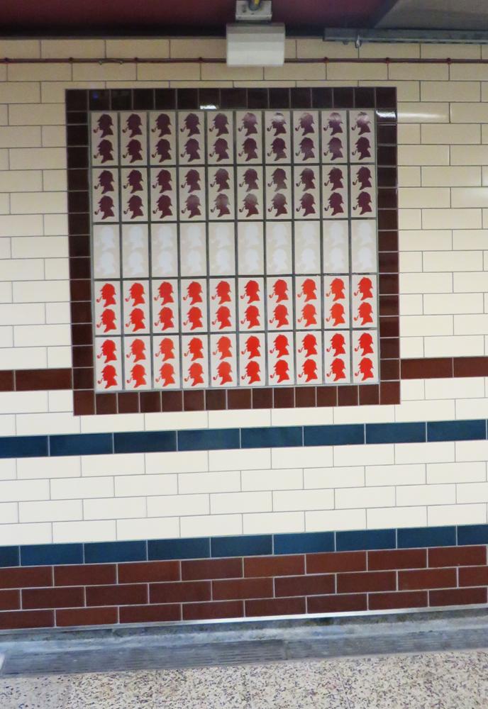 Sherlock Holmes tile in the Baker Street Underground station