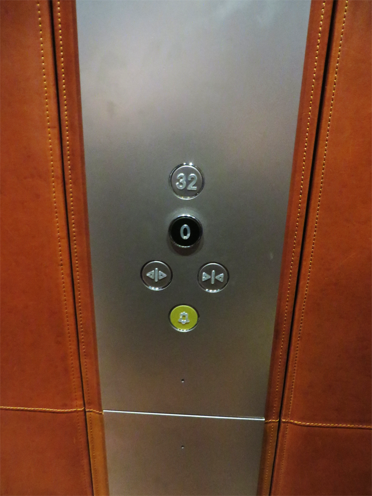 the two-button elevator panel at The Shard in London