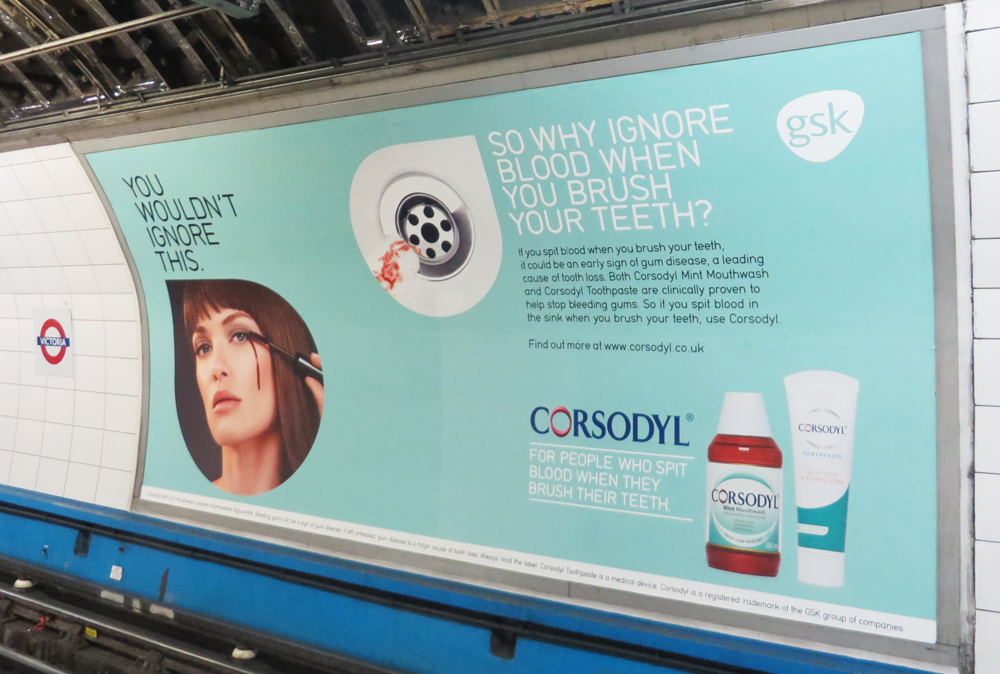 This freaky ad comparing a bleeding eye to gums that bleed when you brush your teeth. Augh!