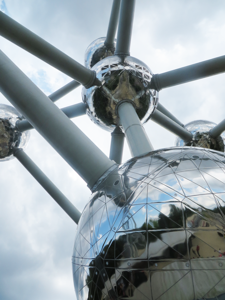 Staring up at Brussels' Atomium from the ground