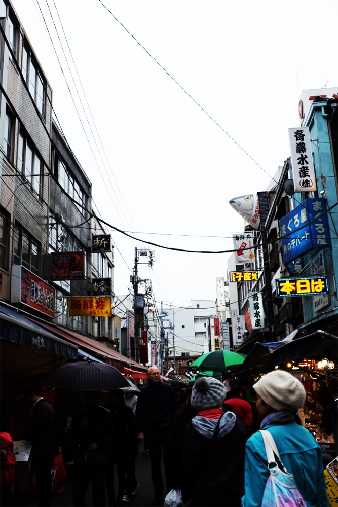 A thriving street and crowd in Tokyo's Tsukiji Market