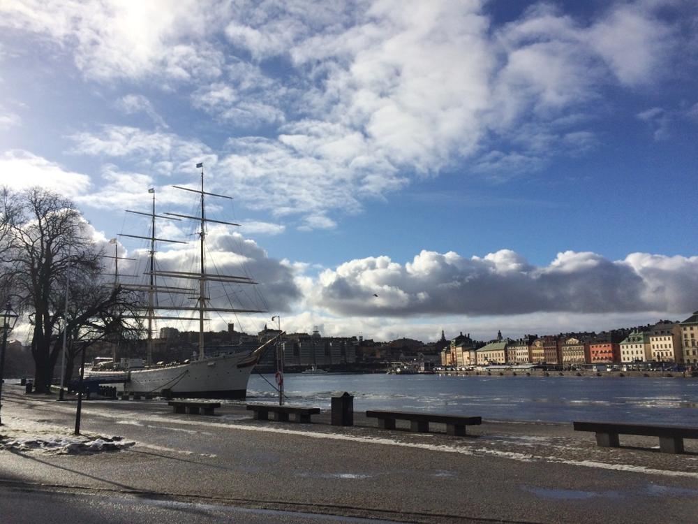 Af Chapman hostel, a boat on Stockholm Harbor