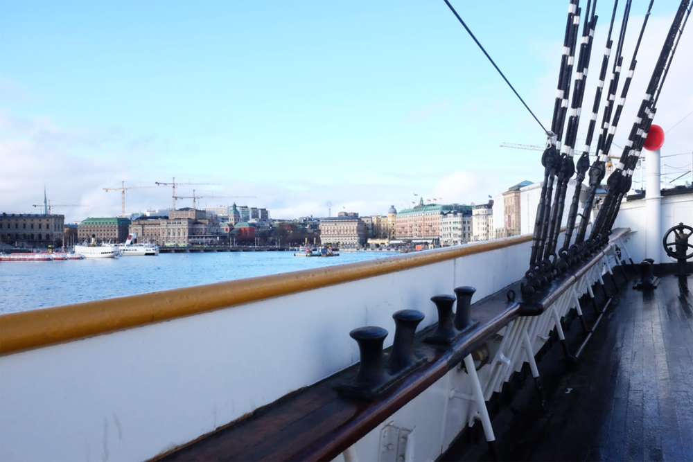 View of Stockholm Harbor from the Af Chapman deck