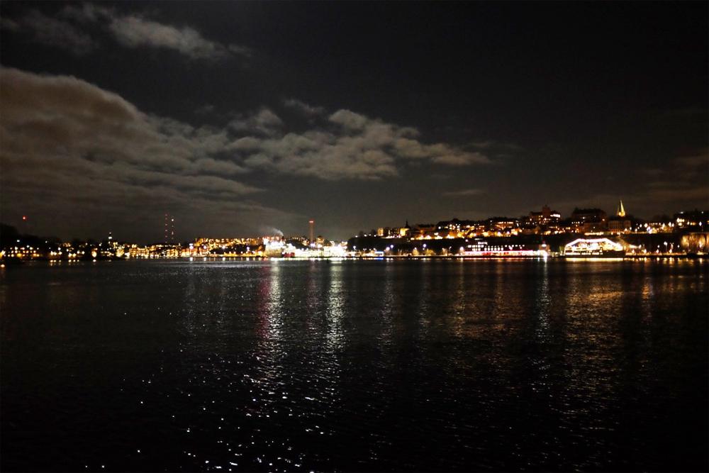 Stockholm Harbor at night