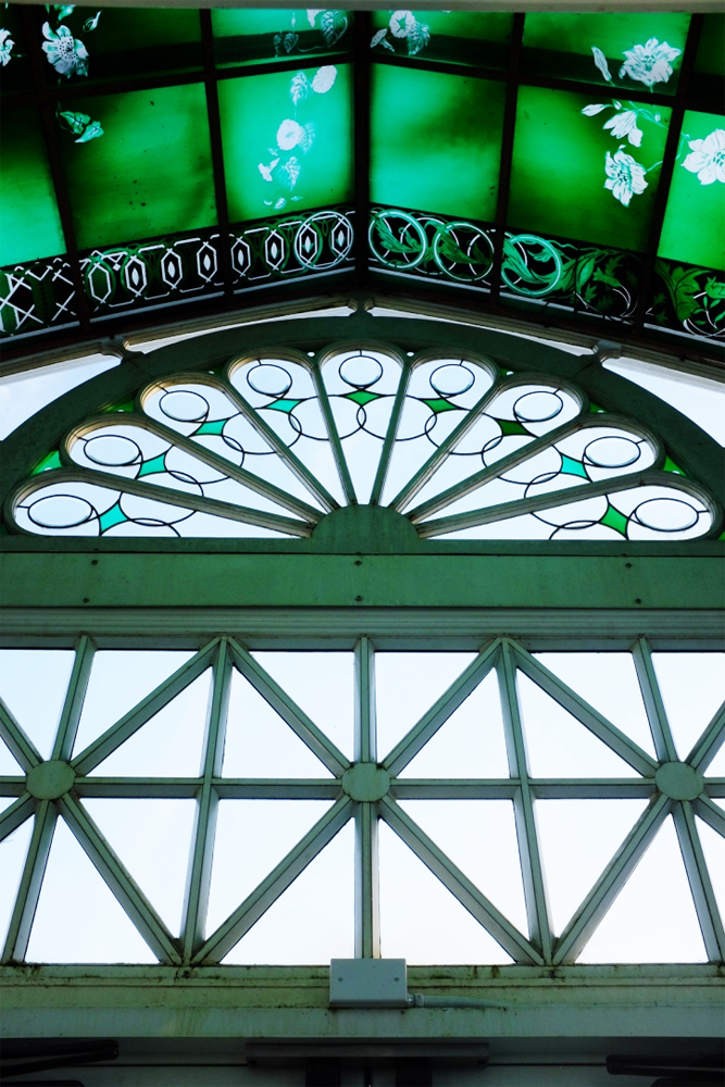 Stained glass over the entrance at the Volunteer Park Conservatory