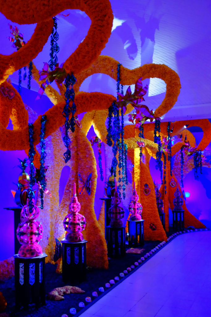 Marigold-covered looping shapes in front of a purple-lit wall