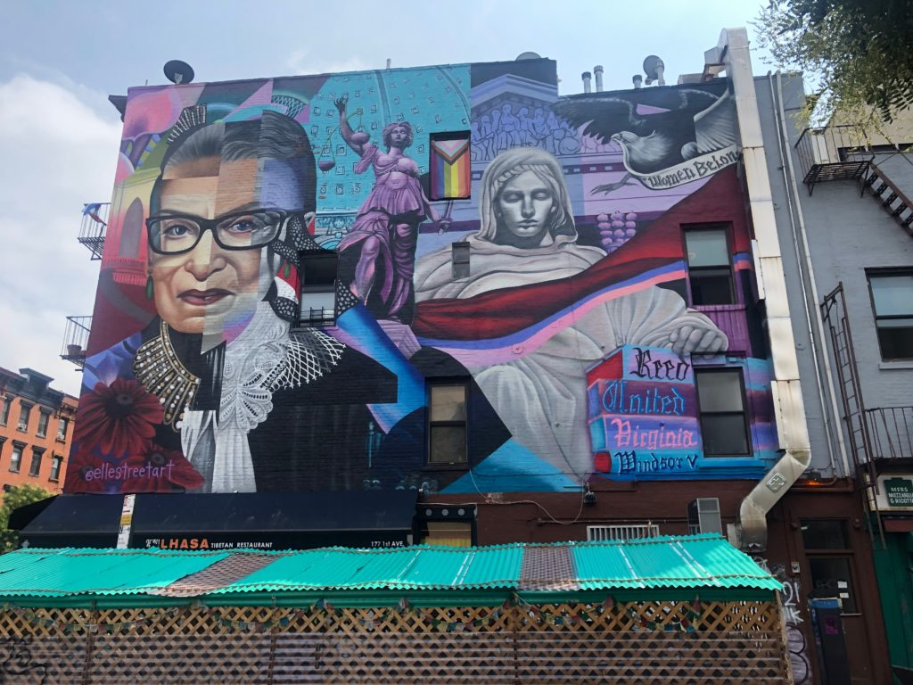 mural of Ruth Bader Ginsberg in the Lower East Side of Manhattan