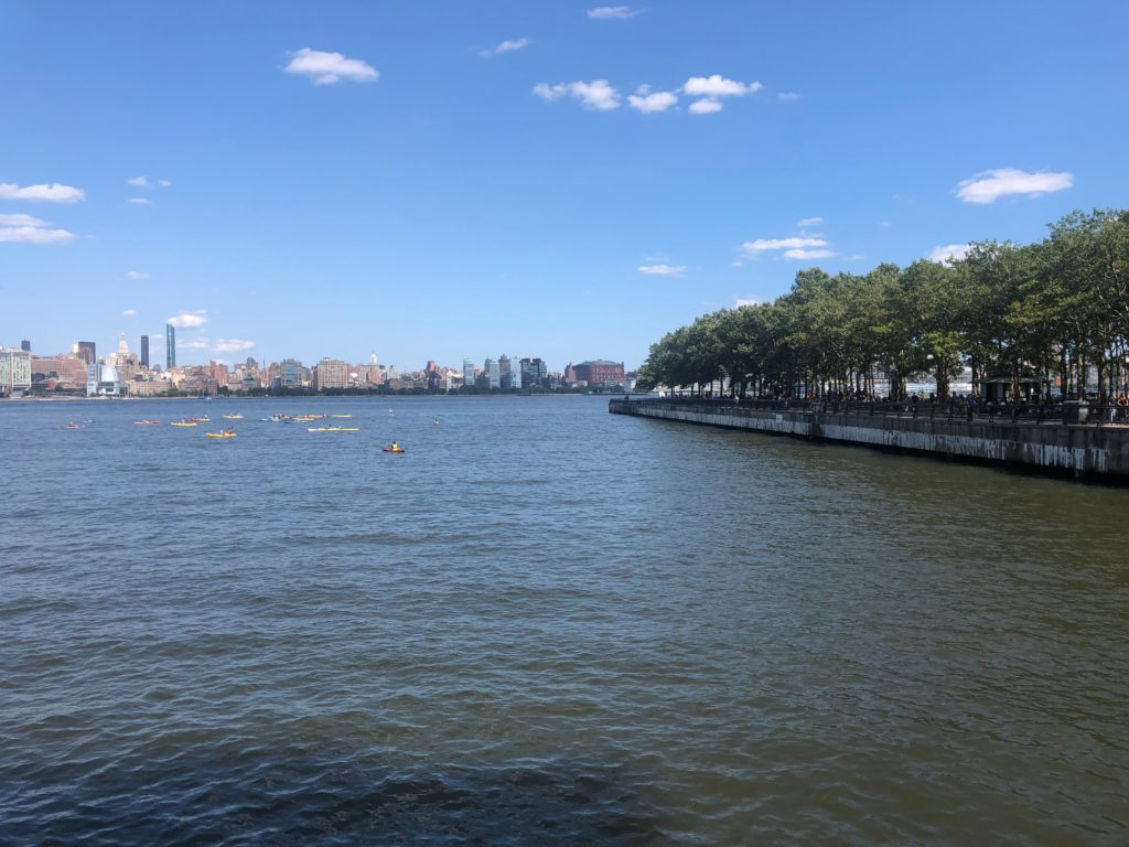 a tree-lined piece of land meets the water, the cityscape behind it